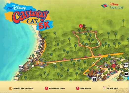 Castaway Cay 5k route on the island